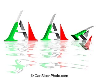Three A capital letters with italian flag symbolizing reduction of triple A rating of Italy