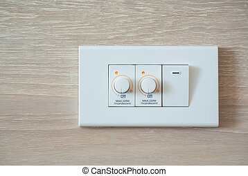 dimmer switch and light switch on switchboard - Two dimmer...