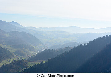 dimmig, morgon, in, mountains
