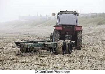dimmig, strand, traktor, morgon