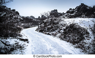 Dimmuborgir area is composed of various volcanic caves and rock formations, Iceland