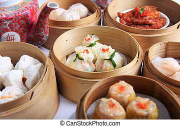 Dimsum - A variety of dim sum in bamboo steam containers