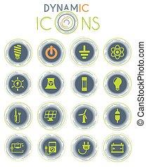 dinámico, iconos, electricidad
