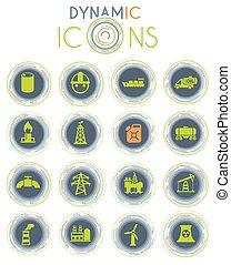 dinámico, industria, iconos