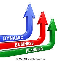 dinámico, planificación, flechas, empresa / negocio, 3d