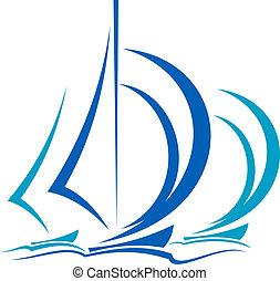 dinâmico, movimento, de, veleiros