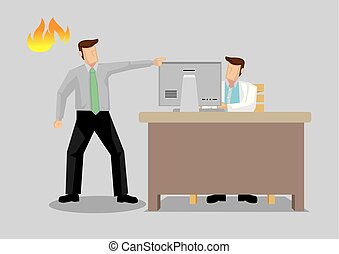 din, 办公室, 愤怒, 描述, 矢量, 医生, 做, 卡通漫画, 人