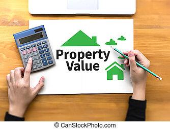 din, affärsman, egenskap, mycket, egendom, hur, värdera, ...