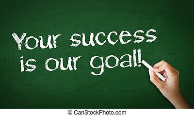 din, framgång, är, vår, mål, krita, illustration