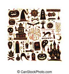 din, halloween, bakgrund, design