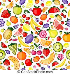 din, mönster formge, seamless, frukter