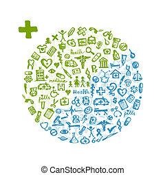 din, ram, design, läkar ikon