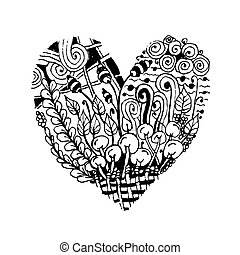 din, skitse, zentangle, facon, konstruktion, hjerte