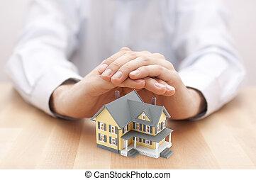 din, skydda, hus