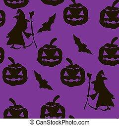 din, vektor, silhuet, sort, mønster, katte, baggrund, pumpkins, hekse, edderkopper, halloween, seamless, konstruktion, appelsin