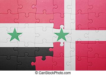 dinamarca, rompecabezas, bandera, nacional, siria