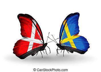 dinamarca, símbolo, suécia, relações, dois, borboletas,...