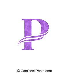 dinamico, p, disegno, lettera, logotipo, logo., template.