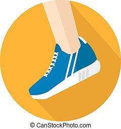 dinamika, ikon, cipők, sport