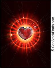 dinamikus, csillogó rays, szív, kép