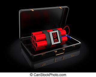 dinamita, en, maletín
