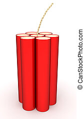 dinamite, branca, isolado, vermelho