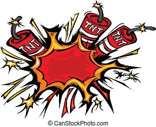 dinamite, explosão, caricatura, vetorial, i