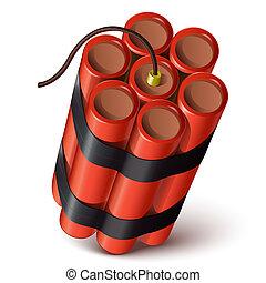 dinamite, pacote, vermelho