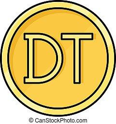 dinar, moneda, tunecino, moneda, icono, túnez
