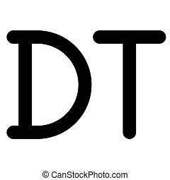 dinar, tunecino, símbolo, moneda, icono, túnez