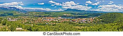 Dinara mountain and town of Knin panoramic view, Croatia
