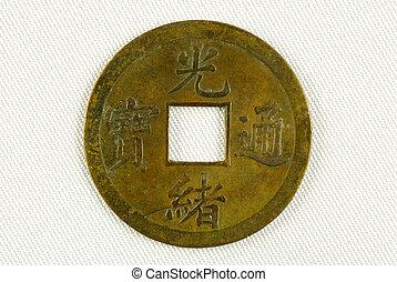 dinastía, moneda, chino, qing