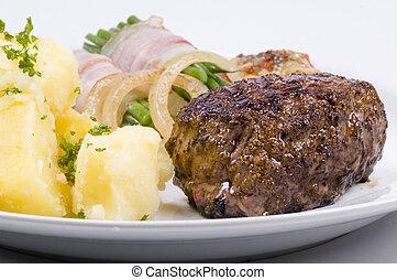 diner, biefstuk