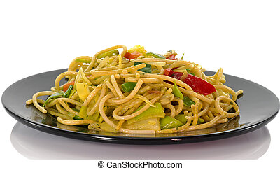 diner dish with noodles - noodles and crackers asian dish on...