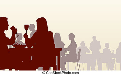 Editable vector silhouette of people eating in a restaurant