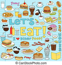 Diner Food Tasty Hand-Drawn Fast Food Notebook Doodle Design Elements Set on Lined Sketchbook Paper Background- Vector Illustration
