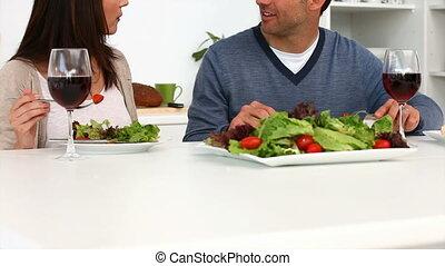 diner, hebben, paar, romantische