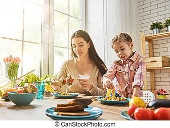 diner, het genieten van, gezin