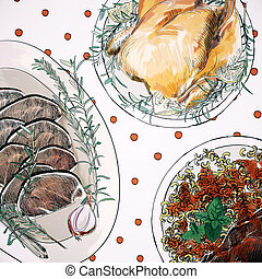 diner, kerstmis, textuur