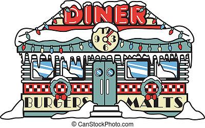 diner, kunst, kerstmis, klem, jaren '50