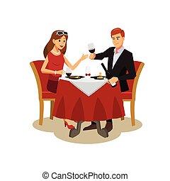 diner, mensen, restaurant