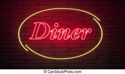 Diner neon sign on the brick wall.. Retro light sign. Food background. American food. Dark background. Black friday background. Pink background. Night club neon sign. 4k
