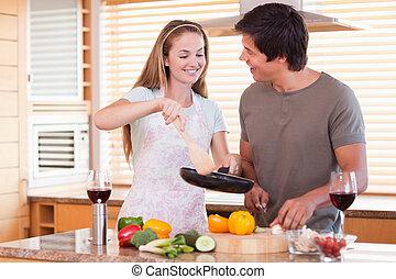 diner, paar, het koken