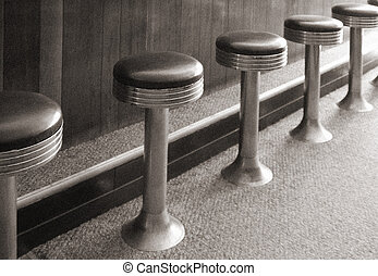 Bar stools of an antique diner