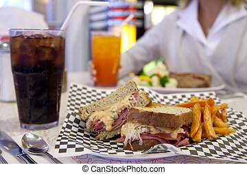 Diner-style Reuben sandwich - A Reuben sandwich with sweet-...