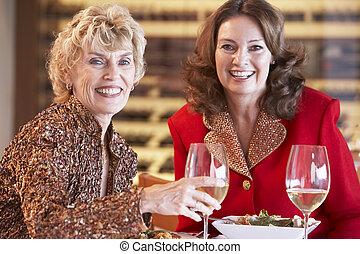 diner, vrienden, hebben, samen, restaurant