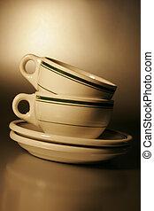 Hercules vitrified restaurant ware, coffee cup and sugar dispenser