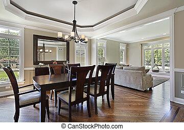 dinere rum, ind, luksus til hjem