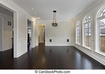dinere rum, ind, nye, konstruktion, hjem