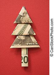 dinero, árbol., origami